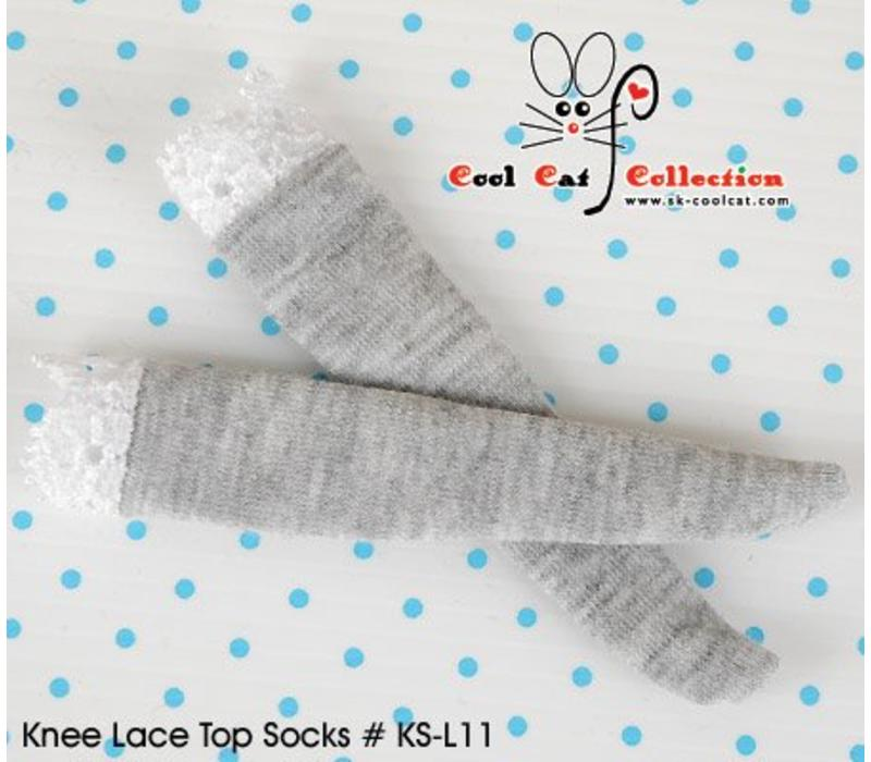 Knee Lace Top Socks Pale Grey