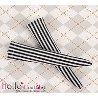 Knee Socks Vertical Thin Stripe Black & White