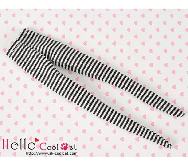 Pantyhose Socks Thin Stripe Black + White