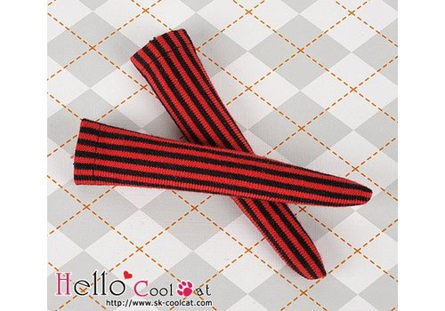 Coolcat Knee Lace Socks Vertical Thin Stripe Red + Black