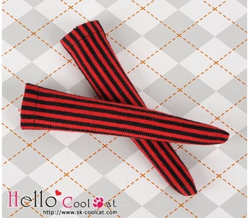 Knee Lace Socks Vertical Thin Stripe Red + Black