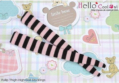 Coolcat Tigh-High Stockings Stripe Black + Pink