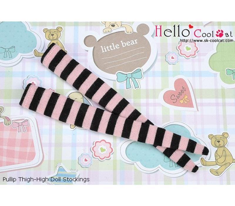 Tigh-High Stockings Stripe Black + Pink