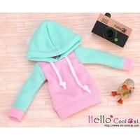 Hoodie Top Long Sleeves Aqua + Pink
