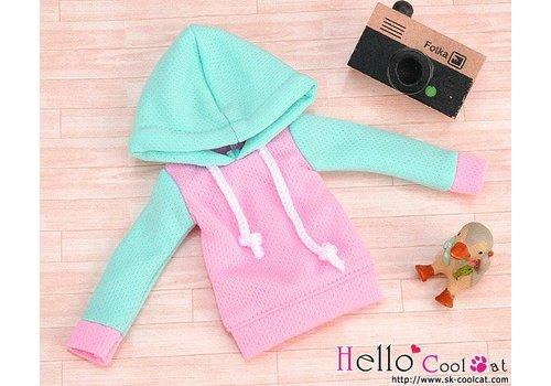 Coolcat Hoodie Top Long Sleeves Aqua + Pink
