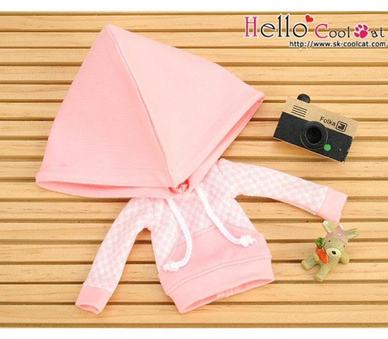 Hoodie Top Big Cap + Pocket Grid Pink