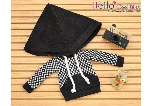 Coolcat Hoodie Top Big Cap + Pocket Grid Black