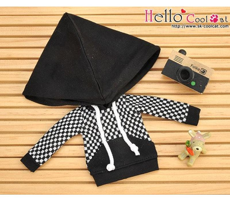 Hoodie Top Big Cap + Pocket Grid Black
