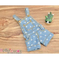 Denim Overalls Shorts Faded Blue Star