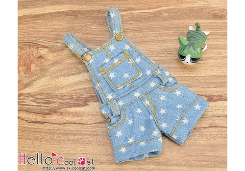 Coolcat Denim Overalls Shorts Faded Blue Star