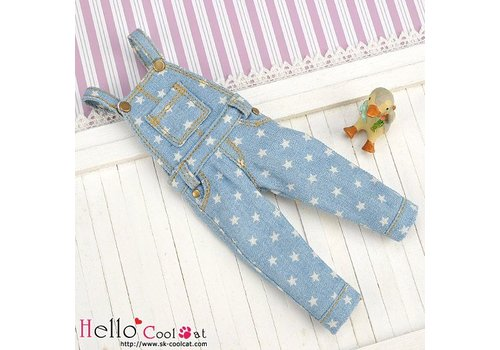 Coolcat Denim Bib & Brace Overalls Faded Blue Star