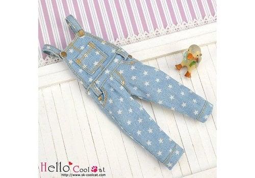 Coolcat Denim Bib & Brace Overalls Faded Blue Star