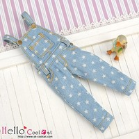 Denim Bib & Brace Overalls Faded Blue Star