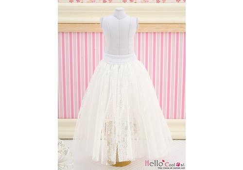 Coolcat Long Tulle Ball Skirt White (Dot)
