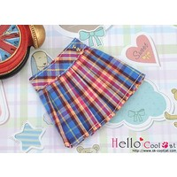 Accordion Mini Short Skirt Stripe Blue