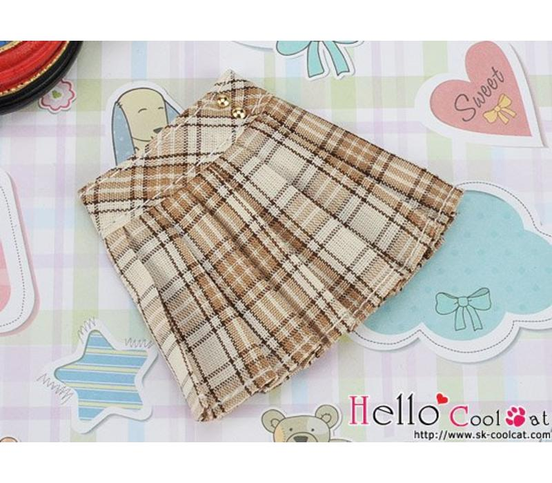 Accordion Mini Short Skirt Stripe Camel