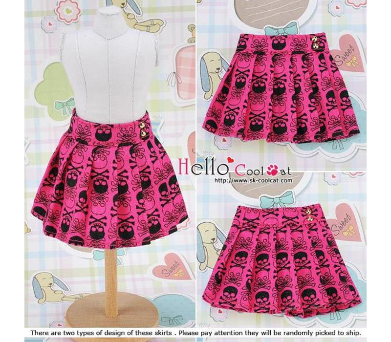 Accordion Mini Short Skirt Skeleton Deep Pink