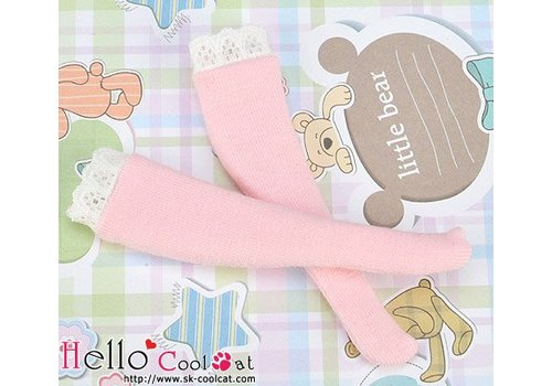 Coolcat Knee Lace Top Socks Pink
