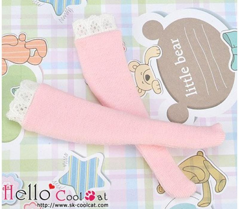 Knee Lace Top Socks Pink