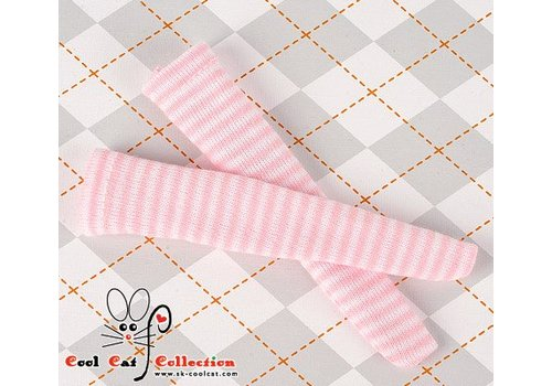 Coolcat Knee Socks Thin Stripe White+Pink