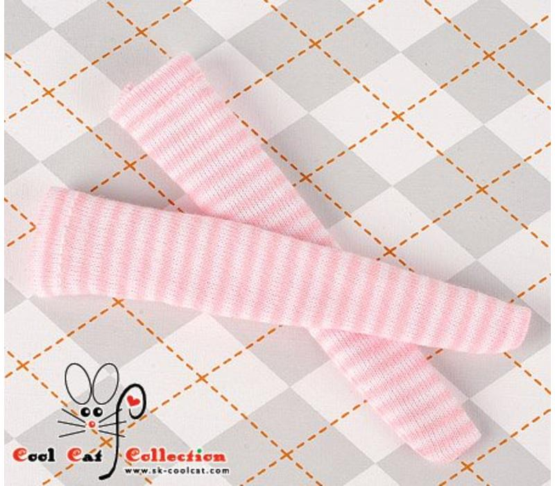 Knee Socks Thin Stripe White+Pink