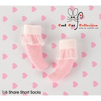 Lace Top Ankle Socks Pink