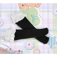 Lace Top Below Knee Socks Black