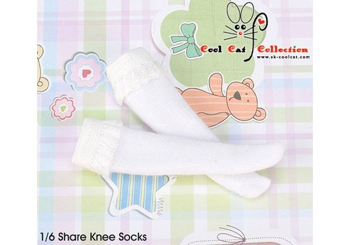 Coolcat Lace Top Below Knee Socks White