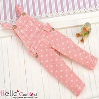 Denim Bib & Brace Overalls Pink Dot