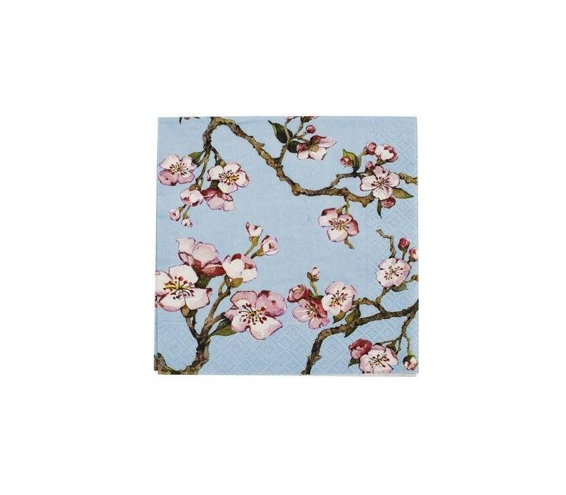 Cedon Servetten cherry blossom lichtblauw
