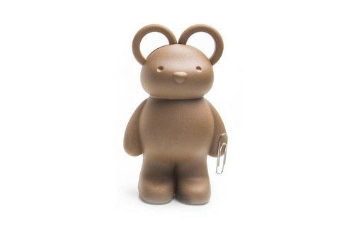 Qualy Qualy Teddybeer schaar- en paperclip houder bruin