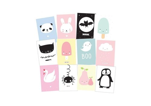 A Little Lovely Company Postcard set cute kids 12 stuks