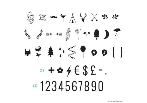 A Little Lovely Company Lightbox symbol set : numbers and symbols