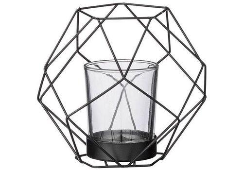 Bloomingville Bloomingville lantaarn metaal/glas mat zwart