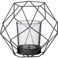 Bloomingville lantaarn metaal/glas mat zwart