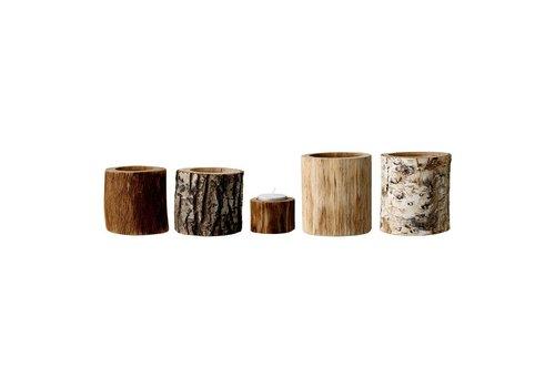 Bloomingville Bloomingville set van 5 kaarshouders hout