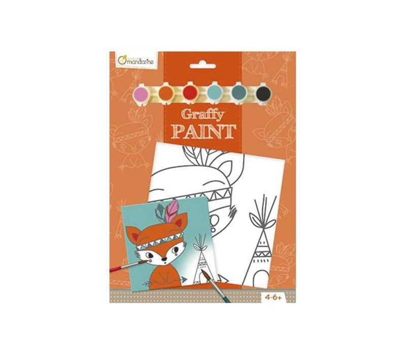 Avenue Mandarine Canvas om te Beschilderen Indian Fox + Verf