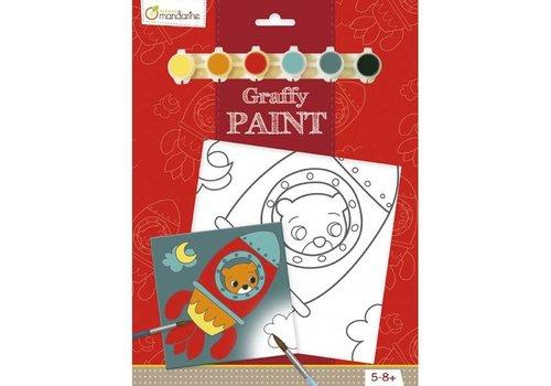 Avenue Mandarine Avenue Mandarine Canvas om te Beschilderen Beertje in Raket + Verf