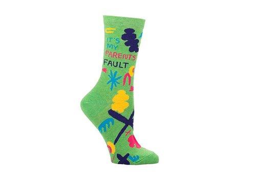 Blue Q Blue Q women's socks 'It's my parents fault'