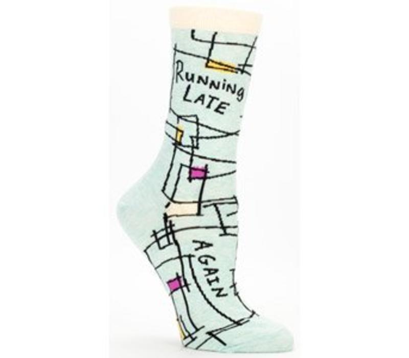 Blue Q women's socks  'Running late ... again'