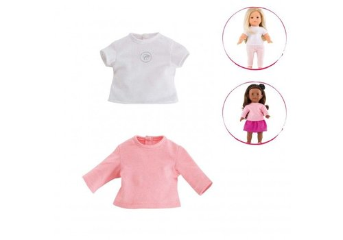 Corolle Corolle Ma Corolle 2 T-shirts wit & roze