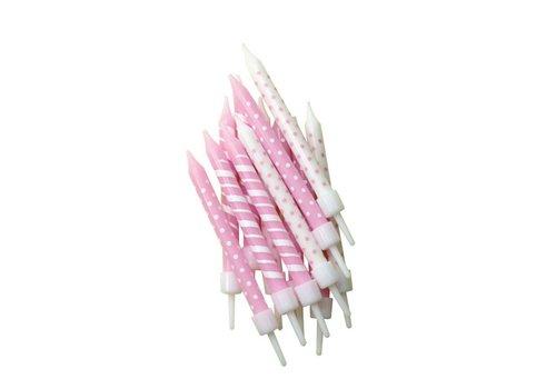 Creative Party Kaarsjes stippen en streepjes roze