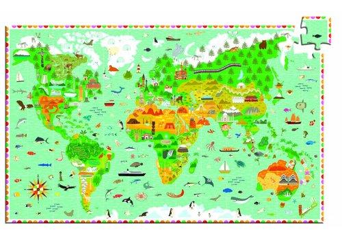 Djeco Djeco puzzel 'reis rond de wereld' 200 stuks + boekje