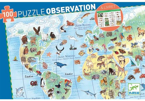Djeco Djeco puzzel 'les animaux du monde' 100 stuks