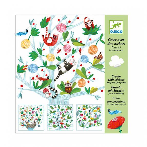 Djeco Kreativ Set Sticker Create animals mit 4 Vorlagen