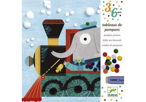 Djeco Djeco Pomponschilderijen 'Onderweg'