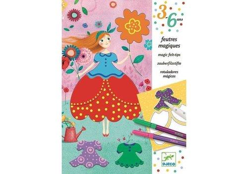 Djeco Djeco Kleurset Magische Viltstiften 'De jurken van Marie'