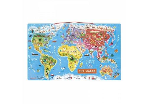 Janod Janod Puzzel Wereldkaart Met Magnetische Stukken 92 st
