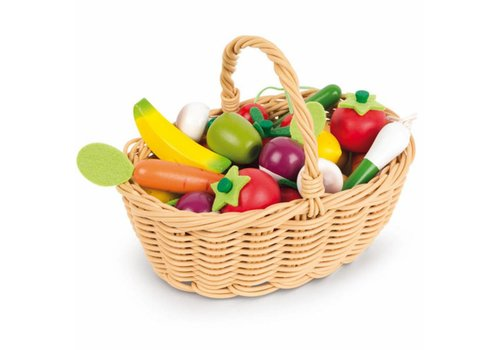 Janod Janod Wicker Basket with Wooden Fruit and Vegetables