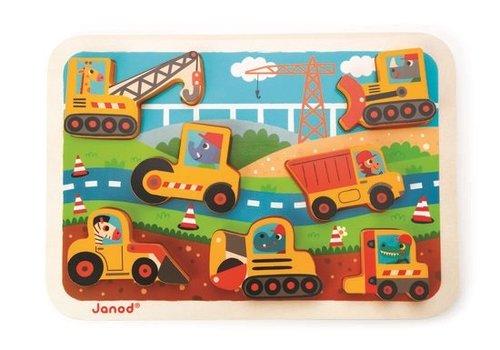 Janod Janod Chunky puzzel BTP Bouwmachines
